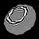 Vector optical illusion. Abstract curve sphere whith black and white lines. Movement lines illusion. Abstract wave whith black and white curve lines stock illustration