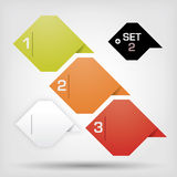 Vector option labels - progress background - produ. Ct choice or versions on the grey background royalty free illustration
