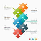 Vector 6 options infographic template with puzzle sections Royalty Free Stock Photography