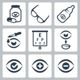 Vector optometry icons set Royalty Free Stock Photos