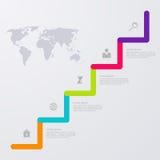 Vector opzioni infographic dell'illustrazione le cinque con la mappa di mondo Fotografie Stock Libere da Diritti