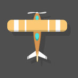 Vector orange airplane illustration top view and aircraft transportation design journey speed plane. Stock Photo