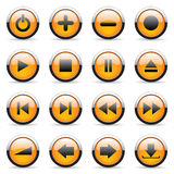 Vector orange buttons. Vector orange icons set for web applications Stock Photo