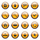Vector orange buttons. Vector orange icons set for web applications Stock Image