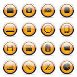 Vector orange buttons. Vector orange icons set for web applications Royalty Free Stock Photo