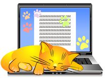 Vector Orange cat asleep on laptop keyboard. Orange cat asleep on the keyboard open silver laptop on a white background Royalty Free Stock Images