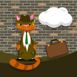 Vector orange cat in suit with briefcase vector illustration