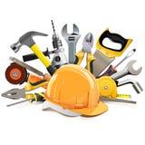 Vector Orange Construction Helmet with Hand Tools royalty free illustration