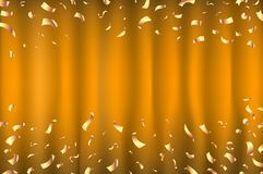 Vector orange Curtain gold Confetti Greeting Card, background with Free Space. Luxury, Glamour Design with Shine Sparkles art. Vector orange Curtain gold Royalty Free Stock Image