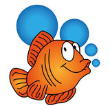 Vector orange fish with bubbles Royalty Free Stock Photos