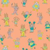 Vector orange fun anthromorphic characters repeat pattern background stock illustration