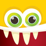 Vector orange funny monster face. Cartoon monster smiling face for kids background or greeting cards Stock Photos