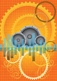vector orange gears music background Royalty Free Stock Photos