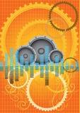 vector orange gears music background Royalty Free Stock Photos