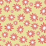 Vector Orange gerbera flowers seamless pattern background. Daisies on a neutral background. vector illustration