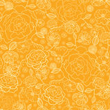 Vector orange and gold flower garden seamless repeat pattern background texture. Perfect for wedding invitations Royalty Free Stock Photos
