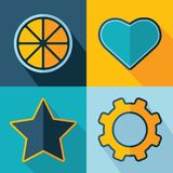 Vector orange heart star gear icons. Vector orange heart star gear color flat icons. Eps10 Royalty Free Stock Photography