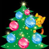 Vector Orange kitten climbed the Christmas tree Royalty Free Stock Photography