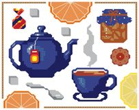Vector orange and lemon seamless pattern. Background design for juice, tea, bakery. Best for fabric, textile, wrapping paper. Pixe royalty free illustration