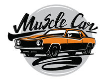 Vector orange muscle car. Icon on white background Royalty Free Stock Images