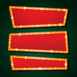 Vector orange neon lamp letters font show cinema or theather Stock Images
