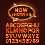 Vector orange neon lamp letters font show cinema or theather Royalty Free Stock Image