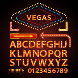 Vector orange neon lamp letters font show vegas light sign theather. Vector orange neon lamp letters font show cinema and theather stock illustration