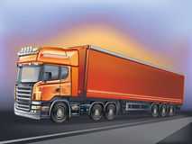 Vector orange truck in motion. Truck and highway at sunset - transportation background Stock Illustration