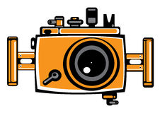 Vector orange vintage film photo camera isolated o Stock Image
