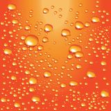 Vector orange water bubbles. Detailed water bubbles on glass surface Stock Image