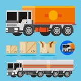 Vector orange and white delivery trucks. 3d vector orange and white trucks, shippnig box and truck icon Royalty Free Stock Photo