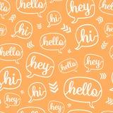 Vector Orange White Hello Speech Bubble Seamless Pattern royalty free illustration