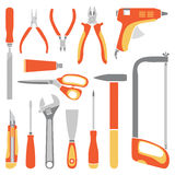 Vector orange working tools collection for construction and repair Stock Images