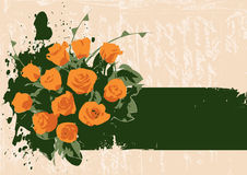 Vector orangerose. This image is a big floral bunch with text place for your business Royalty Free Stock Photo