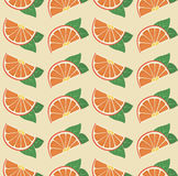 Vector oranges retro seamless pattern. Vector seamless texture of cute orange fruits Stock Images