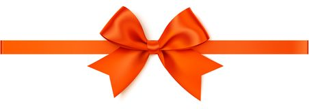 Vector oranje boog met oranje horizontaal die lint op witte achtergrond wordt geïsoleerd Stock Fotografie