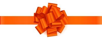 Vector oranje boog met oranje horizontaal die lint op witte achtergrond wordt geïsoleerd Stock Afbeeldingen