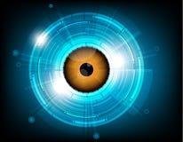 Vector oranje oogappel toekomstige technologie op blauwe achtergrond Stock Foto's