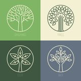 Vector organic badges. Outline circle monograms and logos -ecology and bio design elements Stock Photos