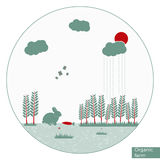 Vector organic farm illustration. In round shape and flat design. Can be used as infographics element or bucklet illustration royalty free illustration