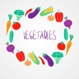 Vector organic food  colorful vegetables set. Vector organic food  colorful illustration with different vegetables in round frame Stock Images