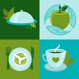 Vector organic food concepts in flat style Royalty Free Stock Photos