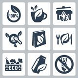 Vector organic food icons set stock illustration