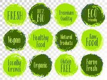 Organic labels, bio emblems for products packaging. Vector organic labels, bio emblems for restaurants menu, natural products packaging. Vegan, gluten free royalty free illustration