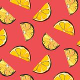 Vector organic lemon graphic on coral background. Fresh slice citrus juice illustration. Food organic texture. Nature Royalty Free Stock Images