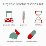 Vector organic products icons set. In a flat design. Can be used for package or booklet design, as a part of infographics or site elements vector illustration