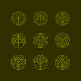 Vector organic tree icons. Outline monograms and logos. ecology and bio design elements. concept for organic shop. nature symbols Stock Image