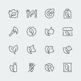 Vector organic and vegetarian food mini icons Royalty Free Stock Images