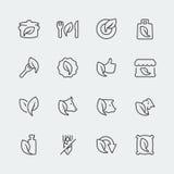Vector organic and vegetarian food mini icons royalty free illustration