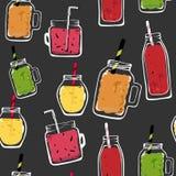 Vector organische vruchten naadloze patrooncocktail de geïsoleerde kruik van de glasfles, heerlijke veganistdranken, smakelijke s royalty-vrije illustratie